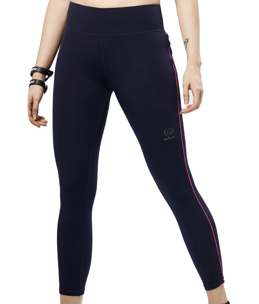 Restless Navy/Pink Capri (Breathable Fabric )