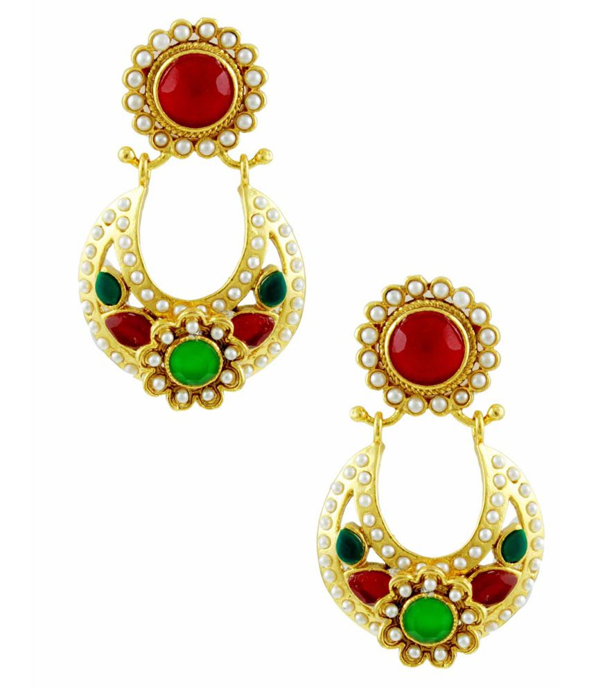 Orniza Pear Shaped Rajwadi Earrings in Red & Green Color