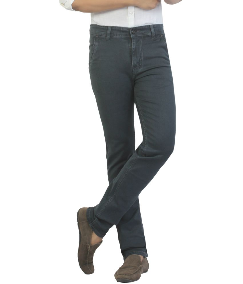Vituda Gray Cotton Blend Slim Fit Jeans
