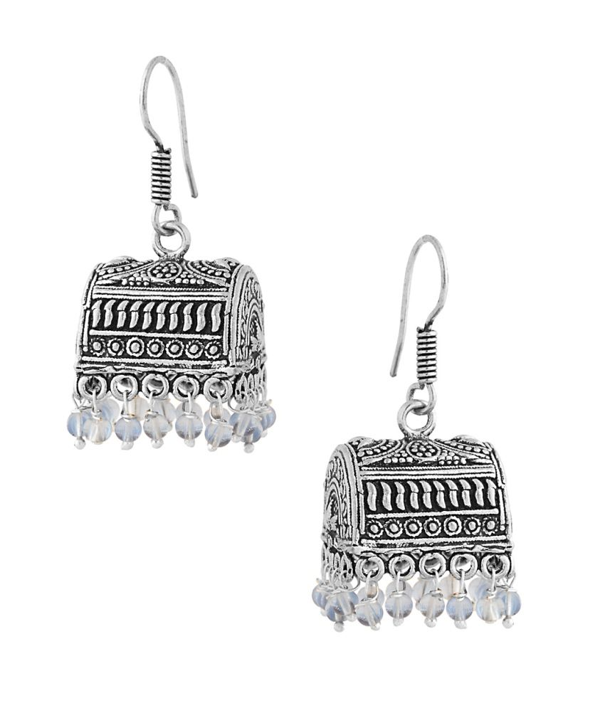 Voylla Endearing Box Shape Jhumki Earrings With Blue Beads