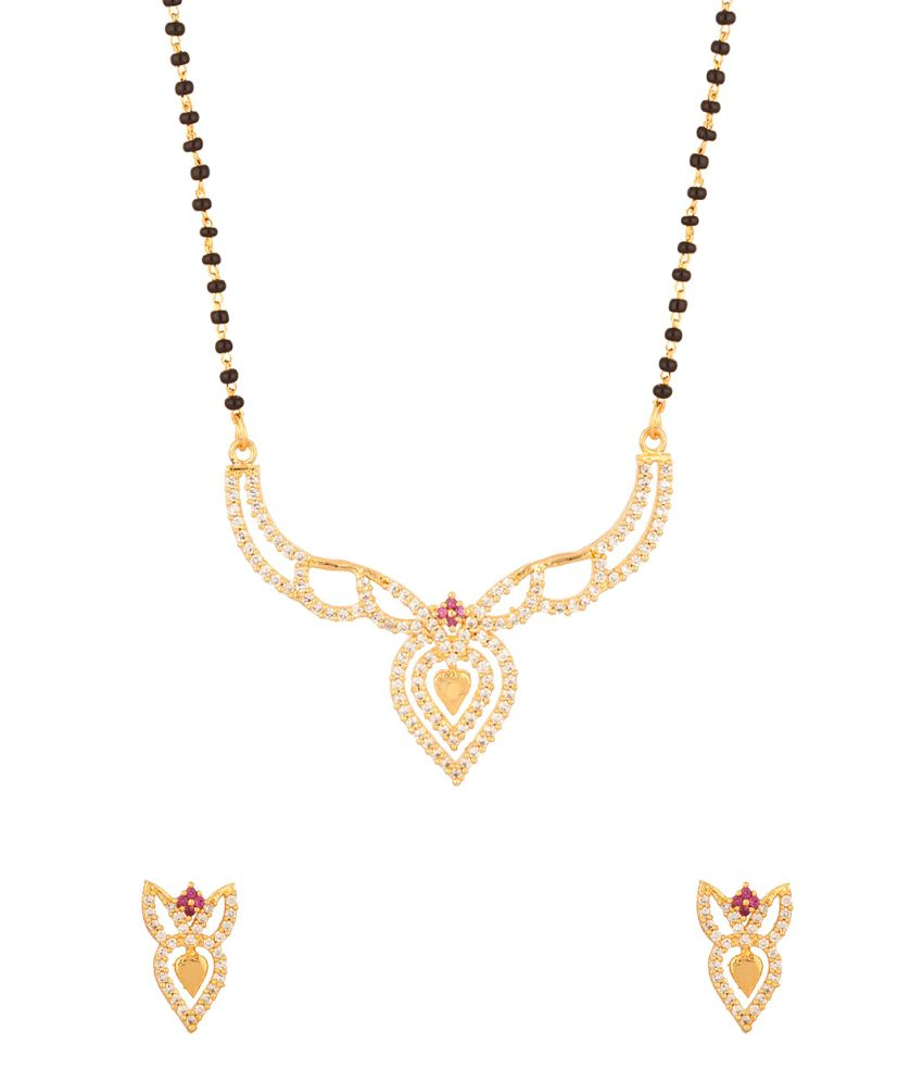 Voylla Mangalsutra With Single Chain Encrusted With Pink Colroed Stones