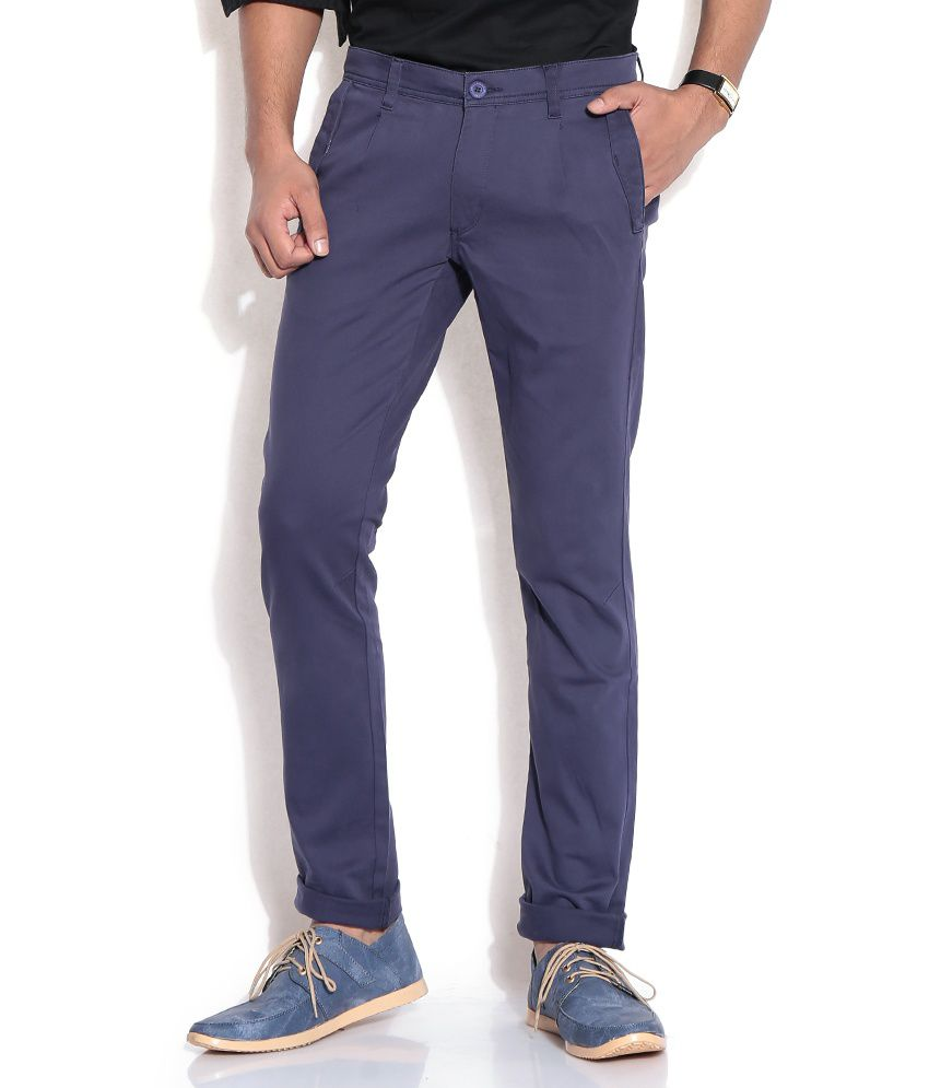 John Players Navy Slim Semi Formals Trousers