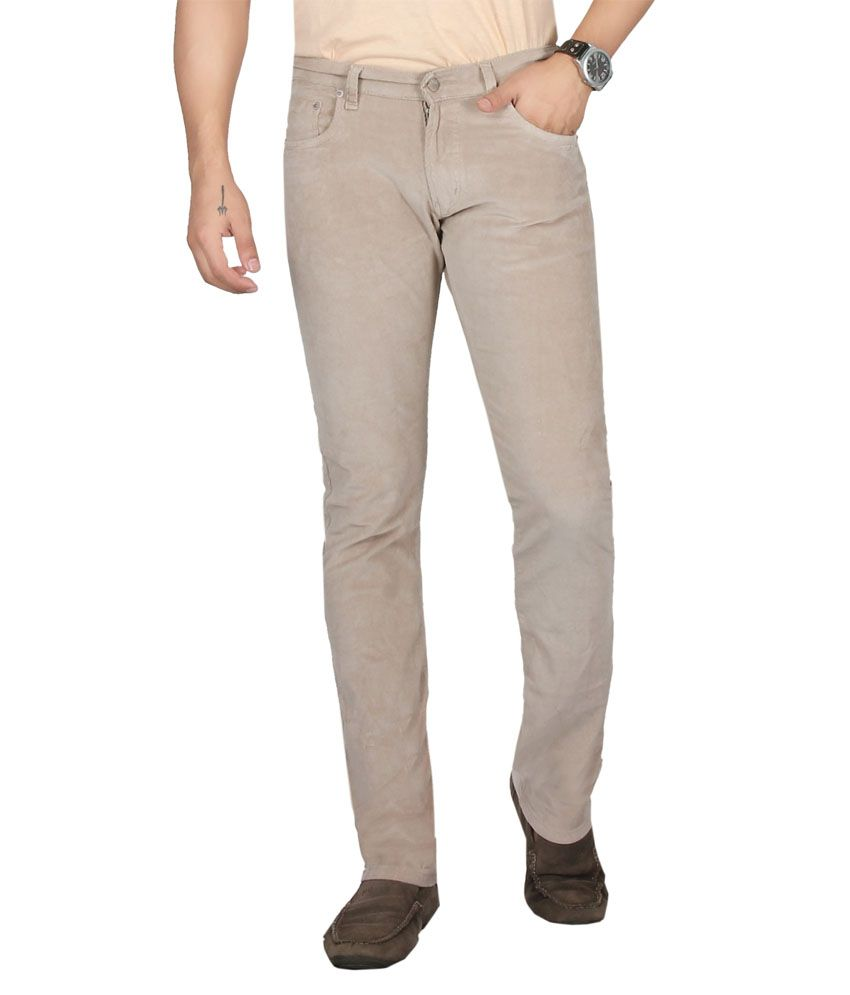 Dare Dashing Cream Comfort Fit Mid Rise Corduroy Trousers For Men | Da1865