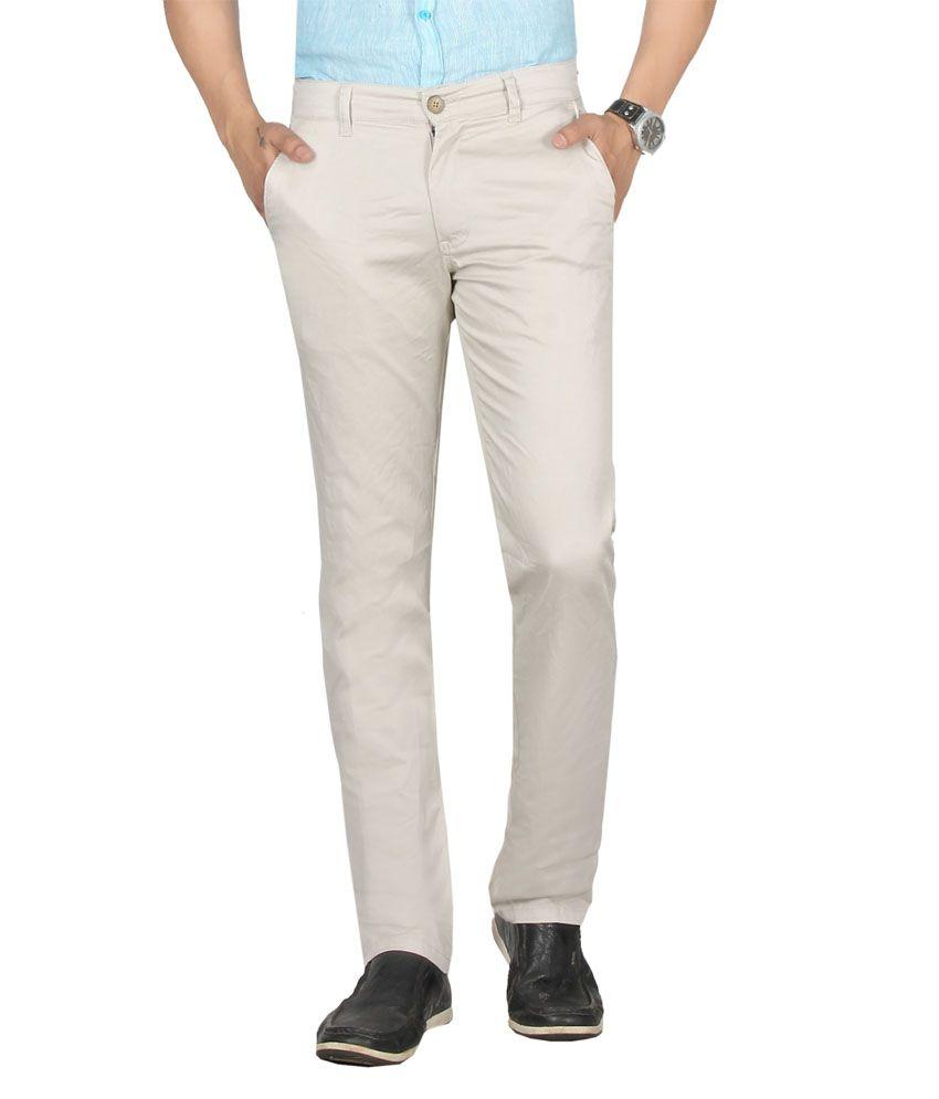 Dare Stylish Beige Comfort Fit Mid Rise Cotton Lycra Trousers For Men   Da1711