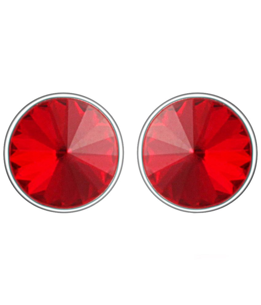 Mahi Rhodium Plated Bold Red Earrings Made with Swarovski Elements for Women ER1104084RRed