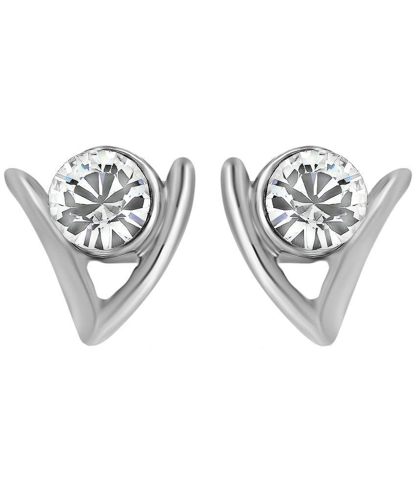Mahi Daily wear Fashion Rhodium Plated Ageless Earrings of Brass Alloy for Women ER1108724R