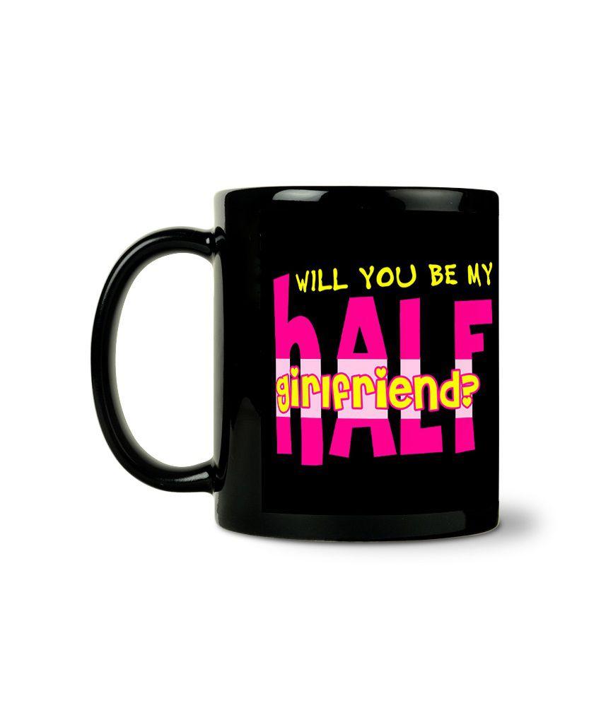 Bluegape Rajnikant Vs Cid Half Girlfriend Black Mug