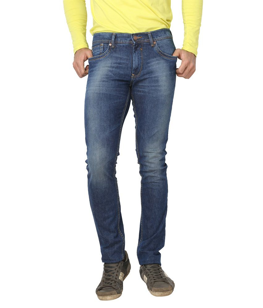 Live In Blue Cotton Blend Slim Fit Faded Mid Jeans