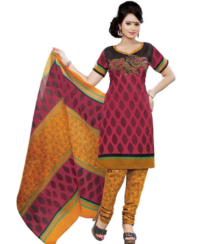 Sonal Multi Color Cotton Unstitched Dress Material