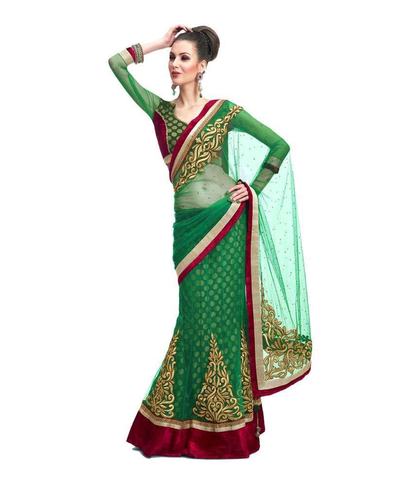 Ninis Green Color Net Lehenga Saree
