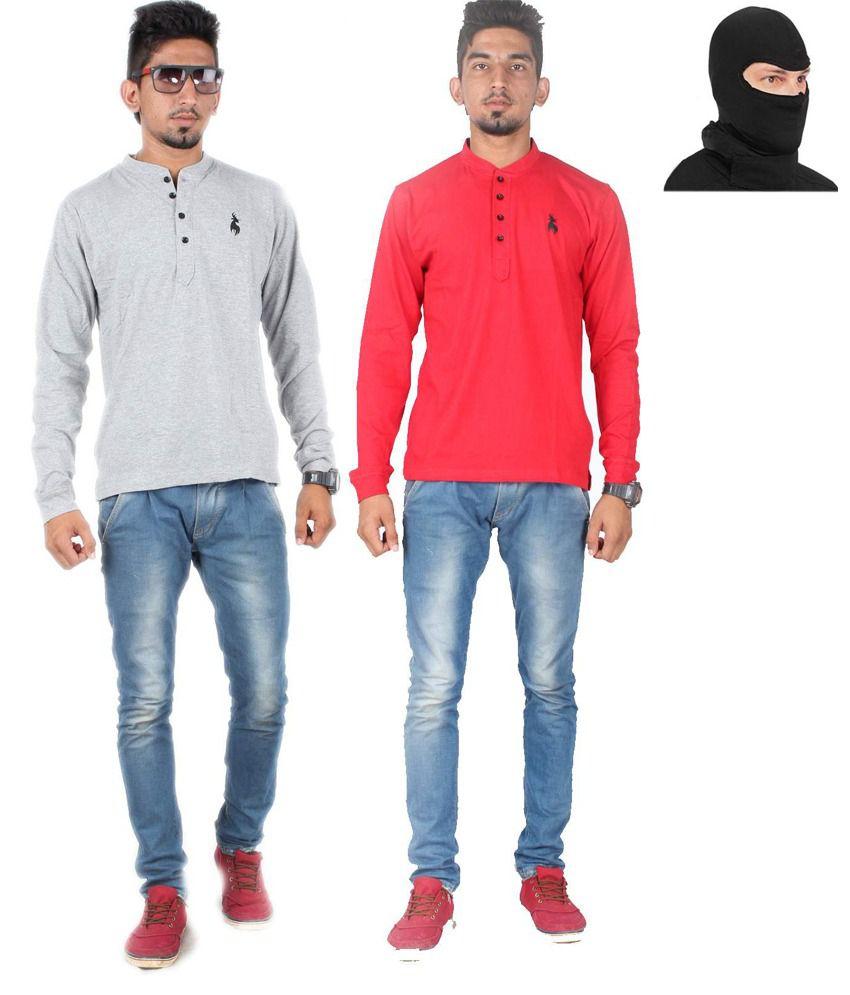 Posh 7 Red & Black Combo Of 2 Henley T Shirt+1 Mask Free