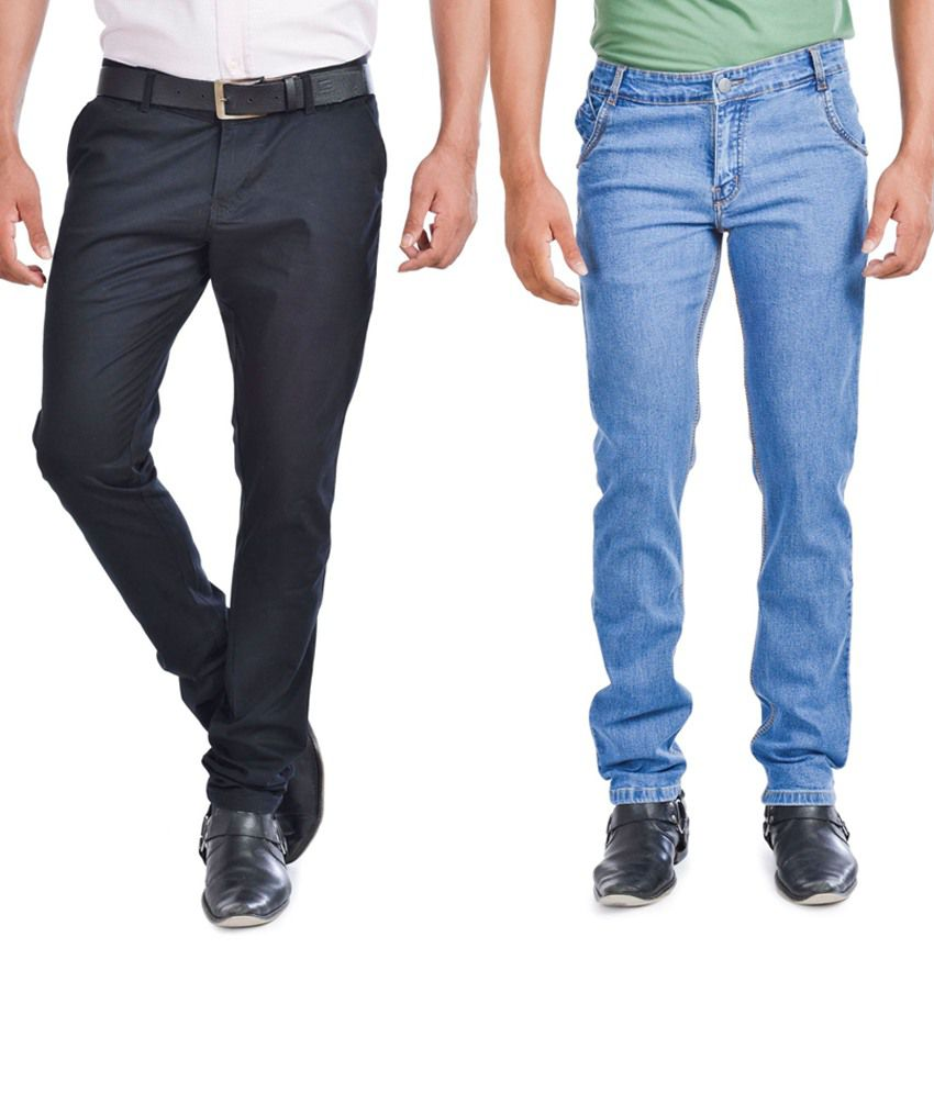 Wintage Jeans Combo Of Blue Regular Fit Jeans And Slim Fit Black Trousers