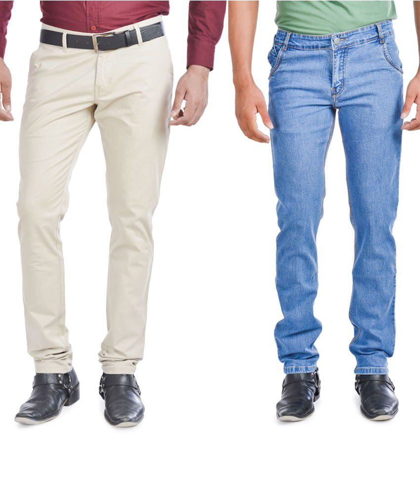 Wintage Jeans Combo Of Blue Regular Fit Jeans And Slim Fit Beige Trousers