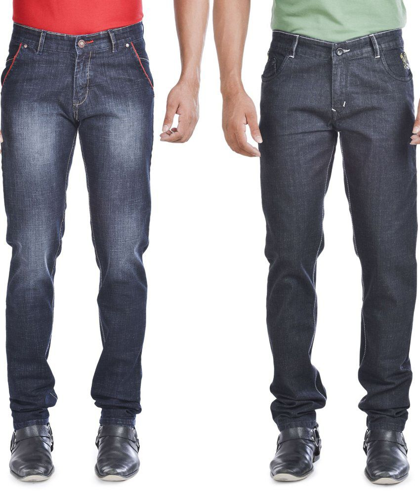 Wintage Jeans Combo Of Two Regular Fit Black Jeans