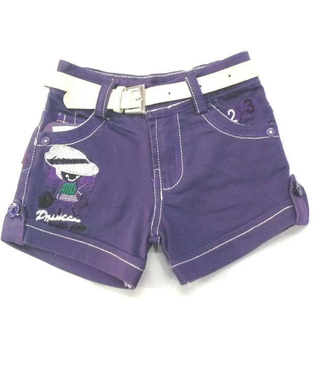 4s Navy Cotton Shorts With White Colour Girls Belt Worth Rs 50/-