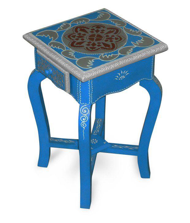 Kings Kraft Blue Painted Wooden Pedestal
