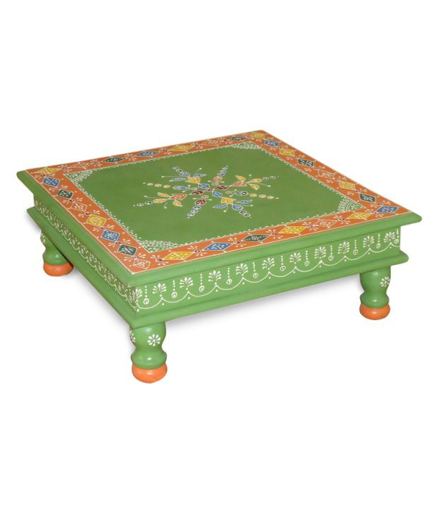 Kings Kraft Green Painted Wooden Choki Cum Low Height Table