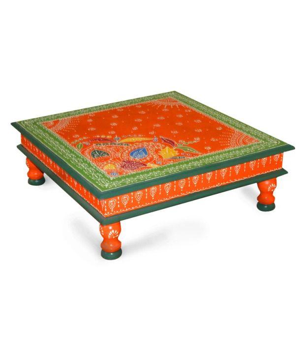 Kings Kraft Saffron Painted Wooden Choki Cum Low Height Table
