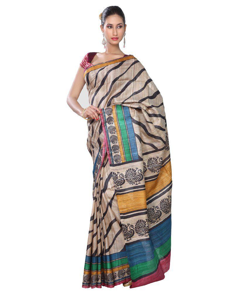 Rani Saahiba Khaki Hand Print Black Lehriya Ghicha Tussar Silk Saree With Blouse Piece