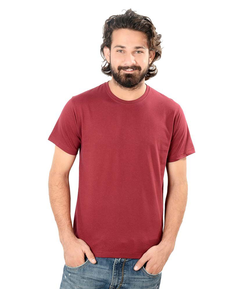 Stop & Select Maroon Round Neck T Shirt