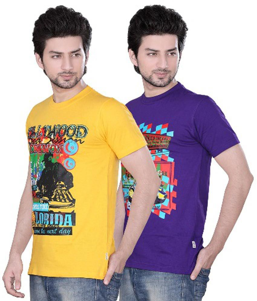 Zebu Multicolourcotton Printed Mens T-shirt 2 Pcs Combo