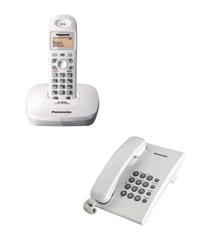 Panasonic Kx-Tg3611Sx-S Cordless Landline Phone (White) With Free Panasonic  Kx-Ts400Sx Landline Phone (White)