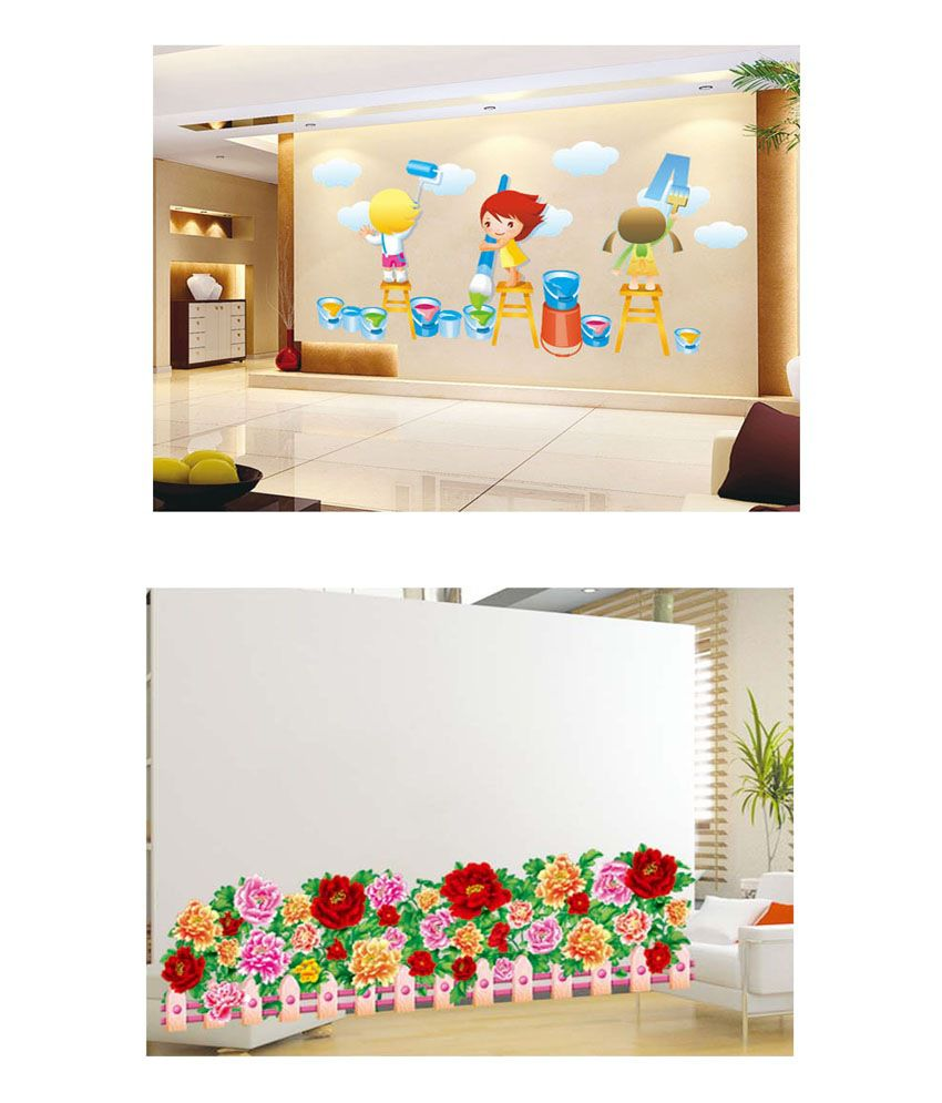 PINDIA Multicolour Painting Kids & Multi Color Flower Border Design Wall Sticker - Buy 1 Get 1