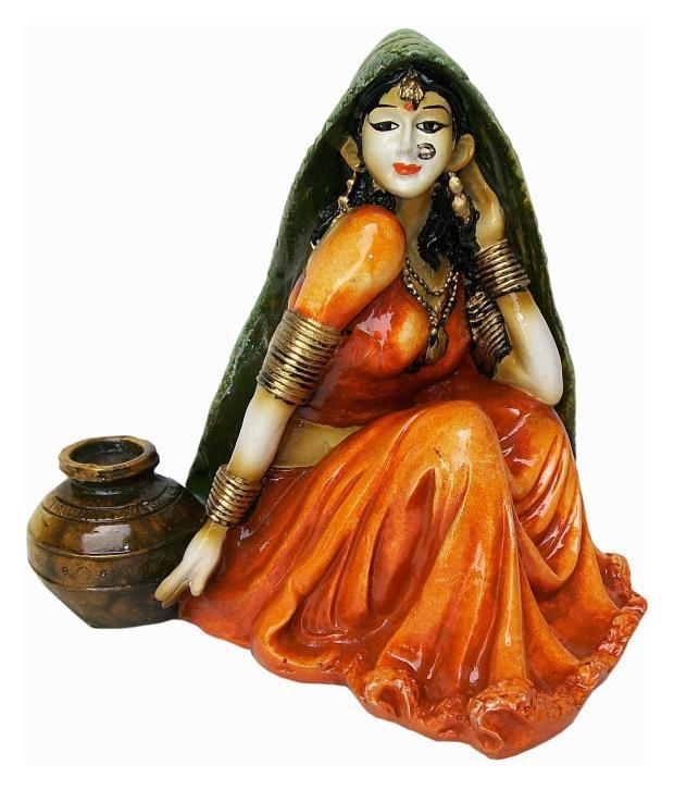 Prabhu Arts Orange Polyresin Rajasthani Women