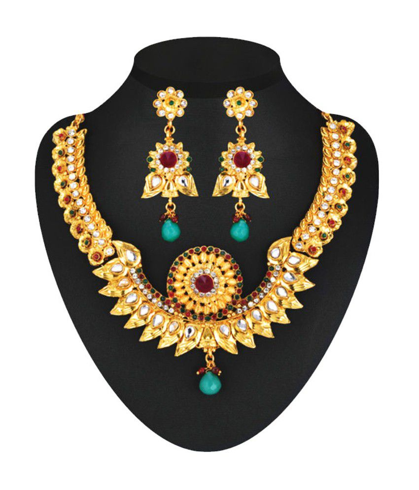 c218b25325 Shubhlabh Multi Color 1 Gram Gold Plated 14 Jewellery Set - Buy ...