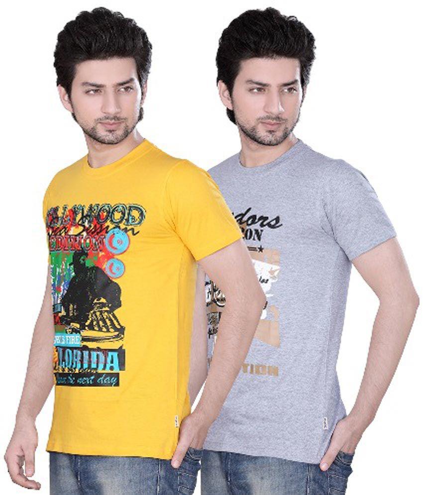 Zebu Multicolourcotton Printed Mens T-shirt 2 Pcs Combo