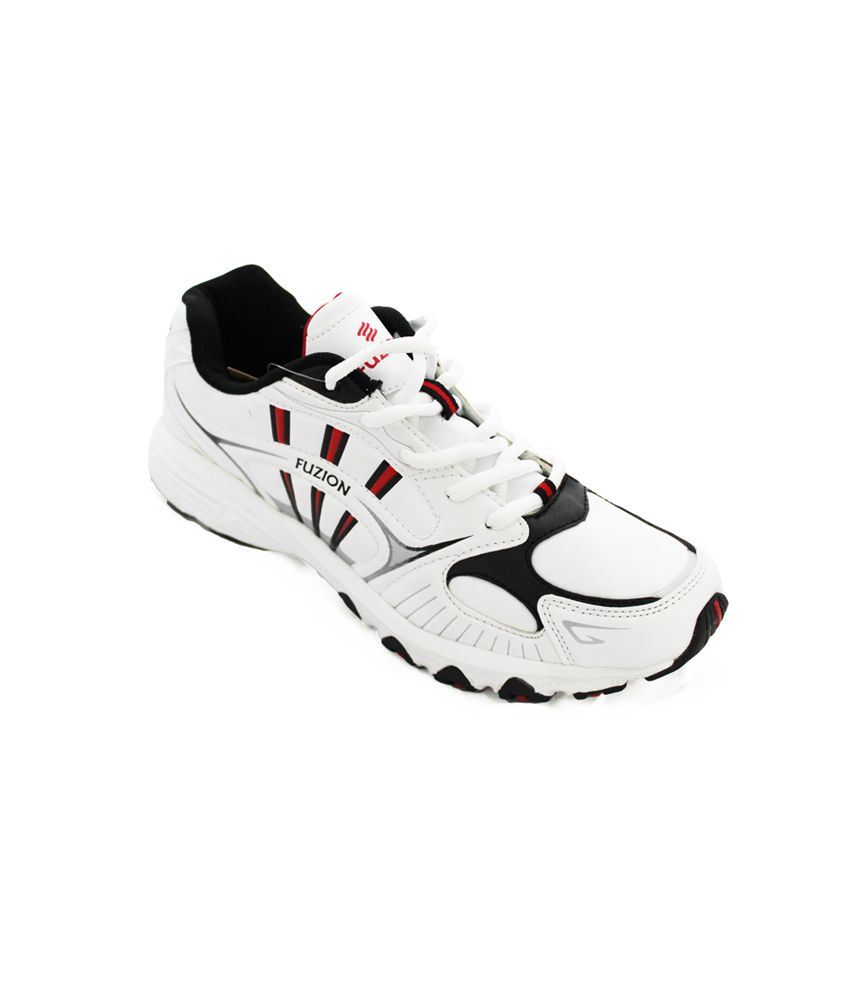 Fuzion White , Black , & Red Running Shoes