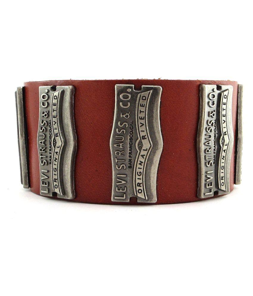 The Jewelbox Levis Geniune Reddish Brown Leather Broad Bracelet Strap Strand ...