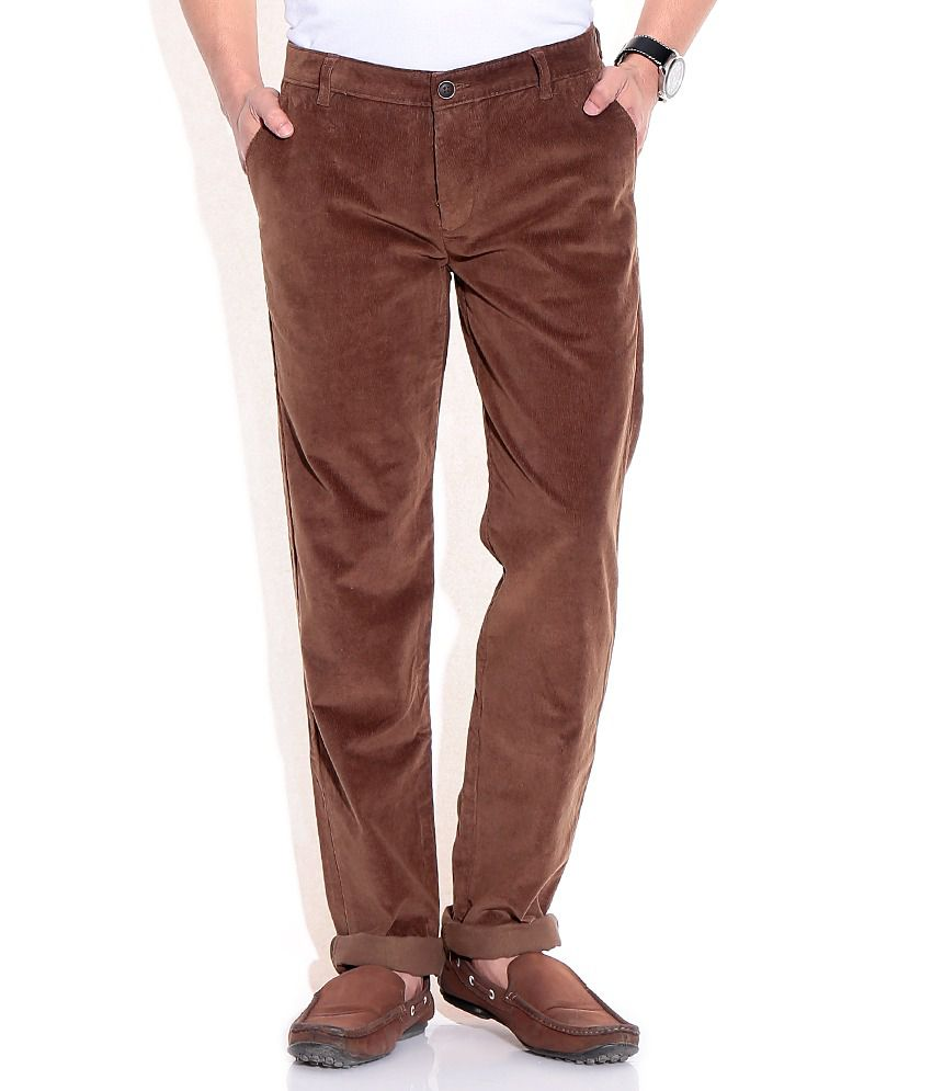 Wills Lifestyle Brown Regular Casuals Trousers & Chinos