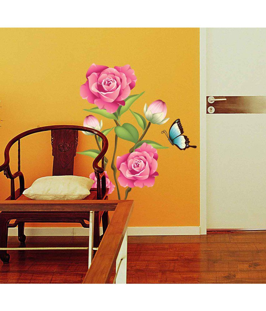 WOW INTERIORS AND DECORS Rose Flower And Tree Wall Stickers - Buy ...