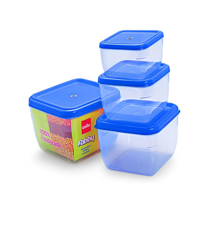 2979b1aa646 Cello Fabby Square Container Set (4 pcs) Blue  Buy Online at Best Price in  India - Snapdeal