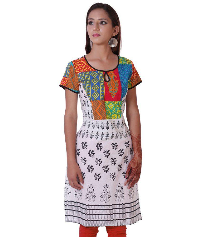 G2M Fashions Multi Color Printed Designer Cotton Kurti