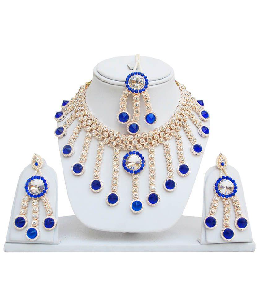 Lucky Jewellery Blue Rose Patwa Set
