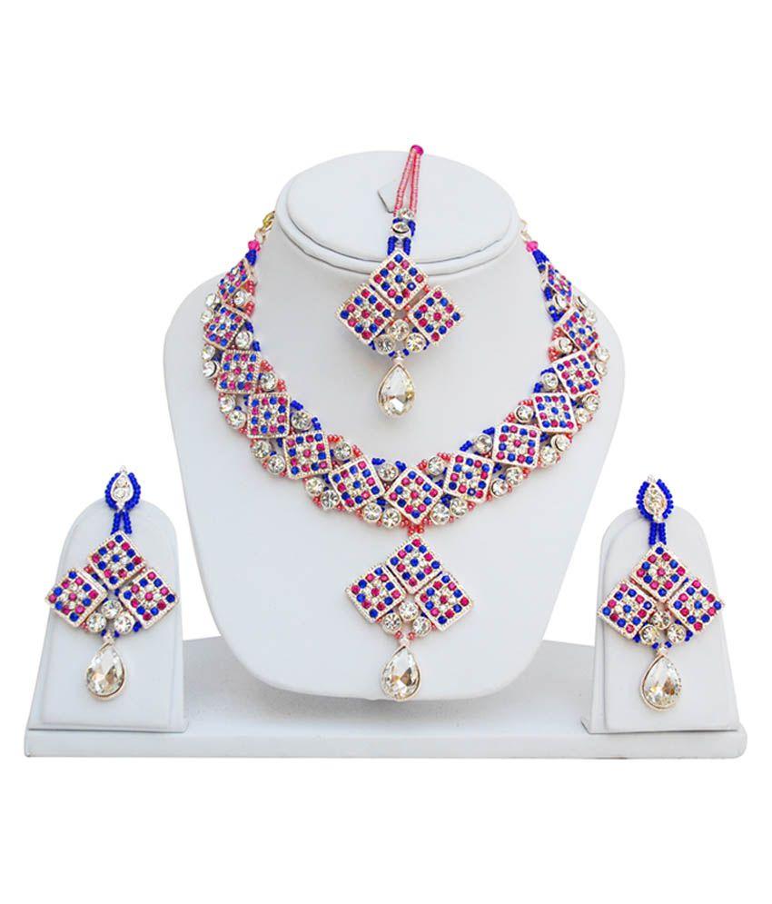 Lucky Jewellery Rani Blue Rose Patwa Set