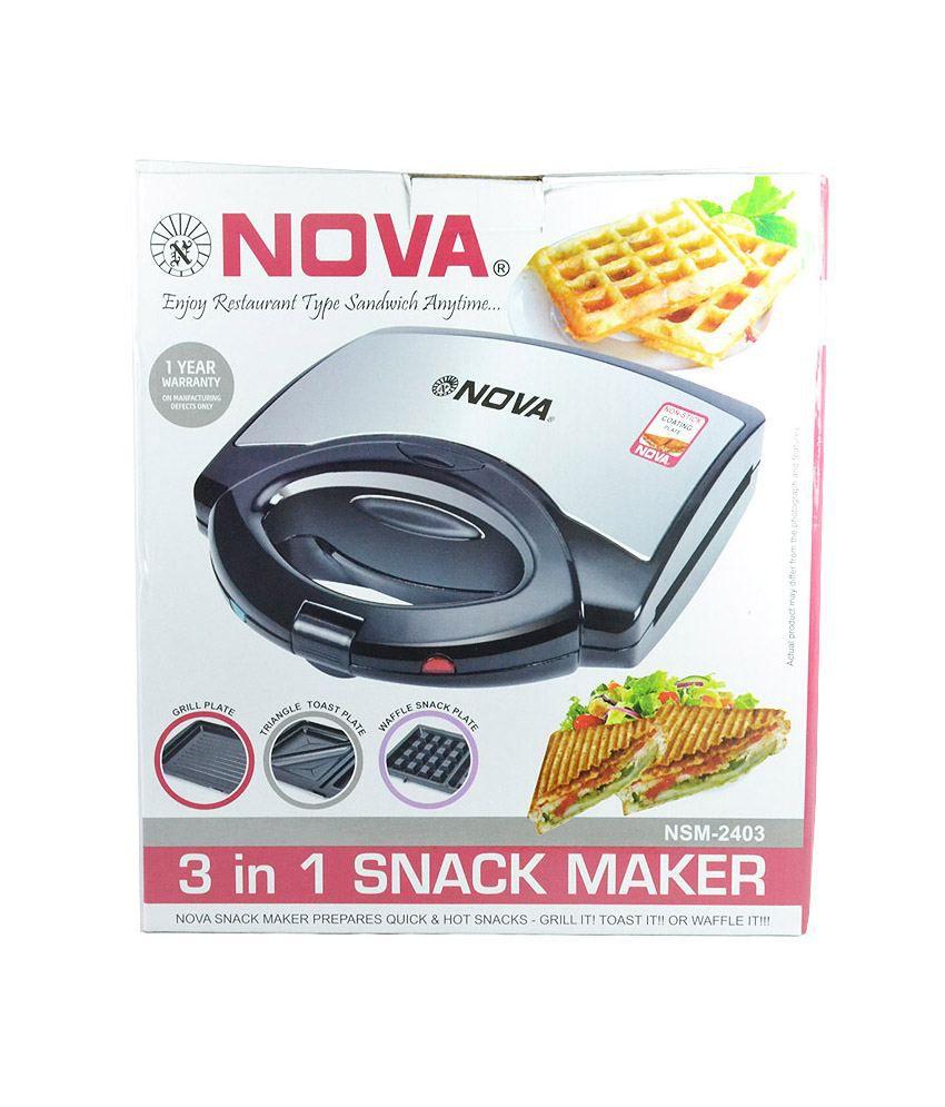 nova 3 in 1 grill toast sandwich maker waffle snack maker price in india buy nova 3 in 1. Black Bedroom Furniture Sets. Home Design Ideas