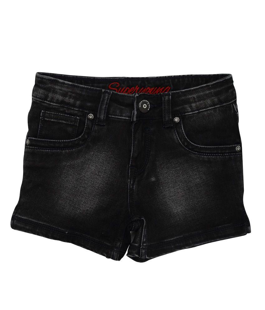 Superyoung Black Denim Shorts For Girls