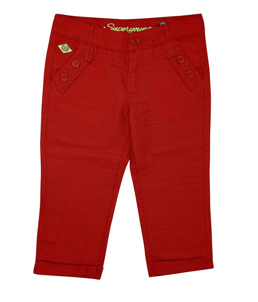 Superyoung Red Sy Linen Capri For Girls