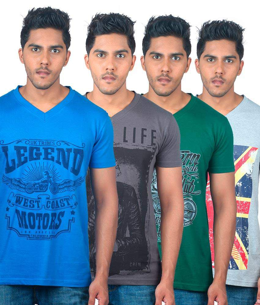 Uk Tribes Dark Grey, Blue, Grey & Green Pack Of 4 V-neck T-shirts