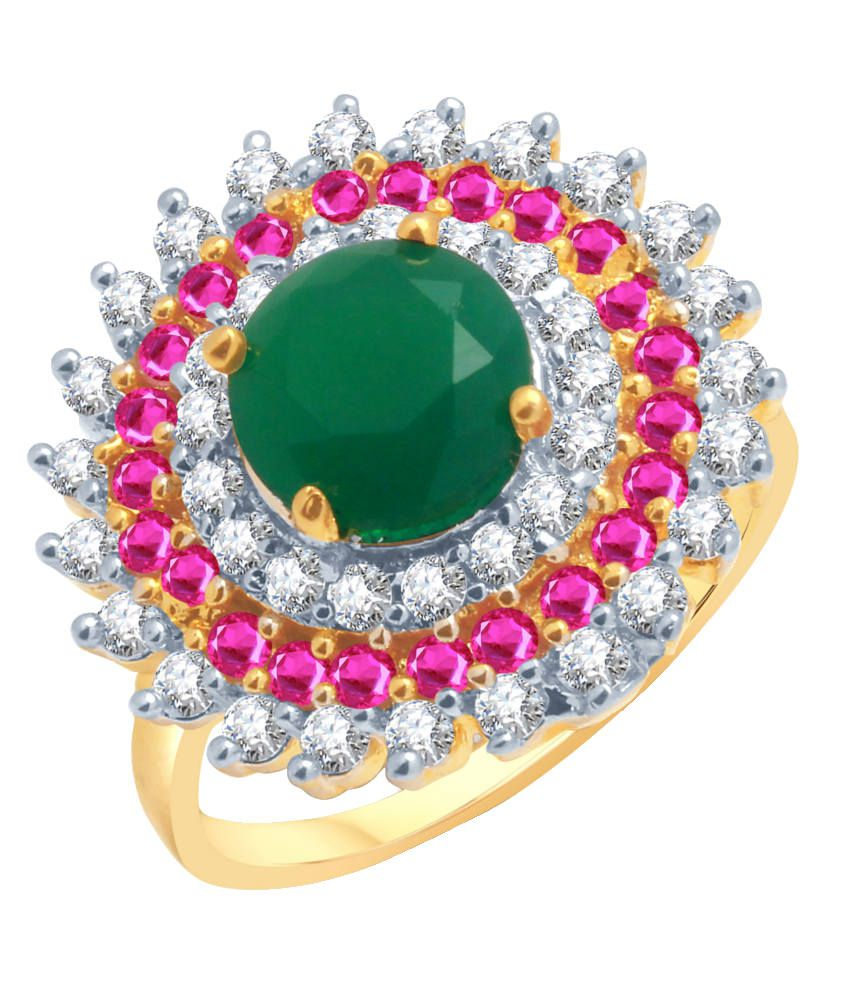 Meenaz Estonish Gold And Rhodium Plated Ruby Cz Ring