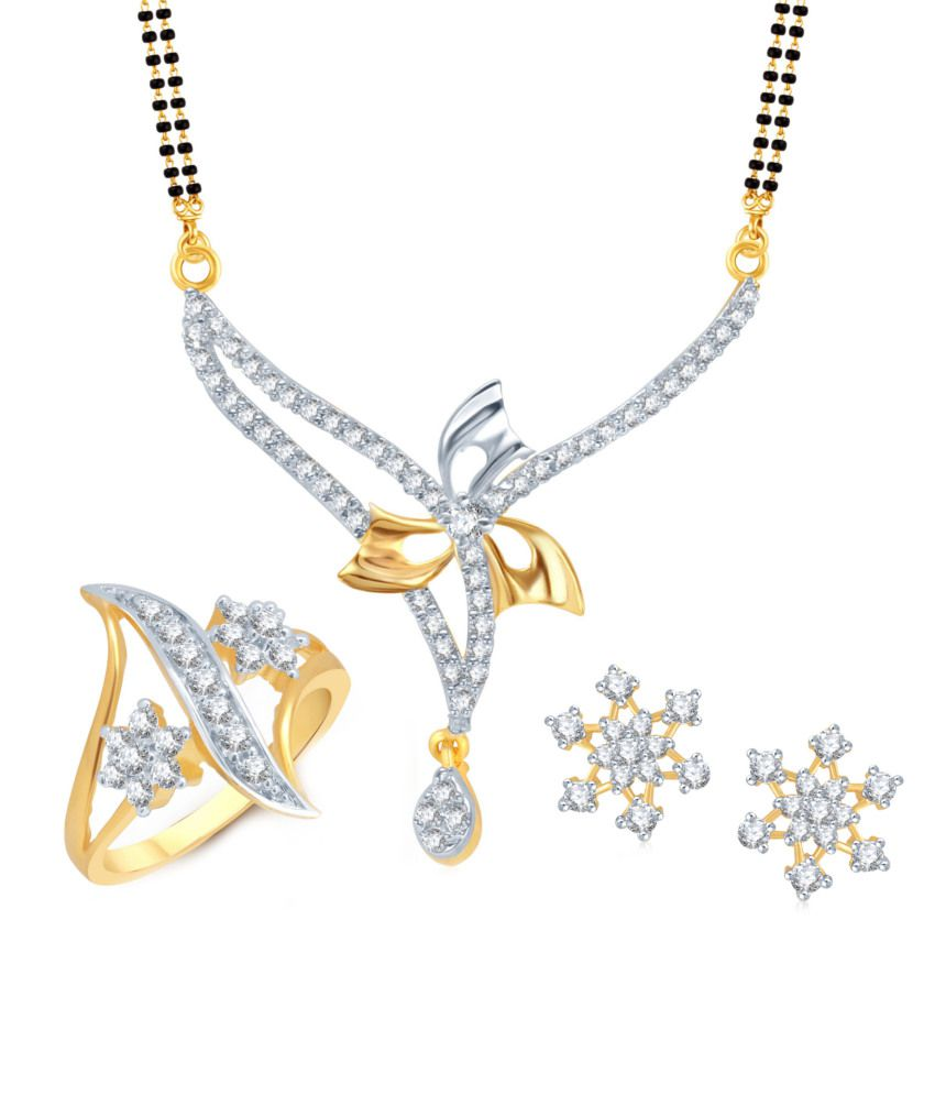 Meenaz Lovely Flower Mangalsutra Combo With Earrings And Ring