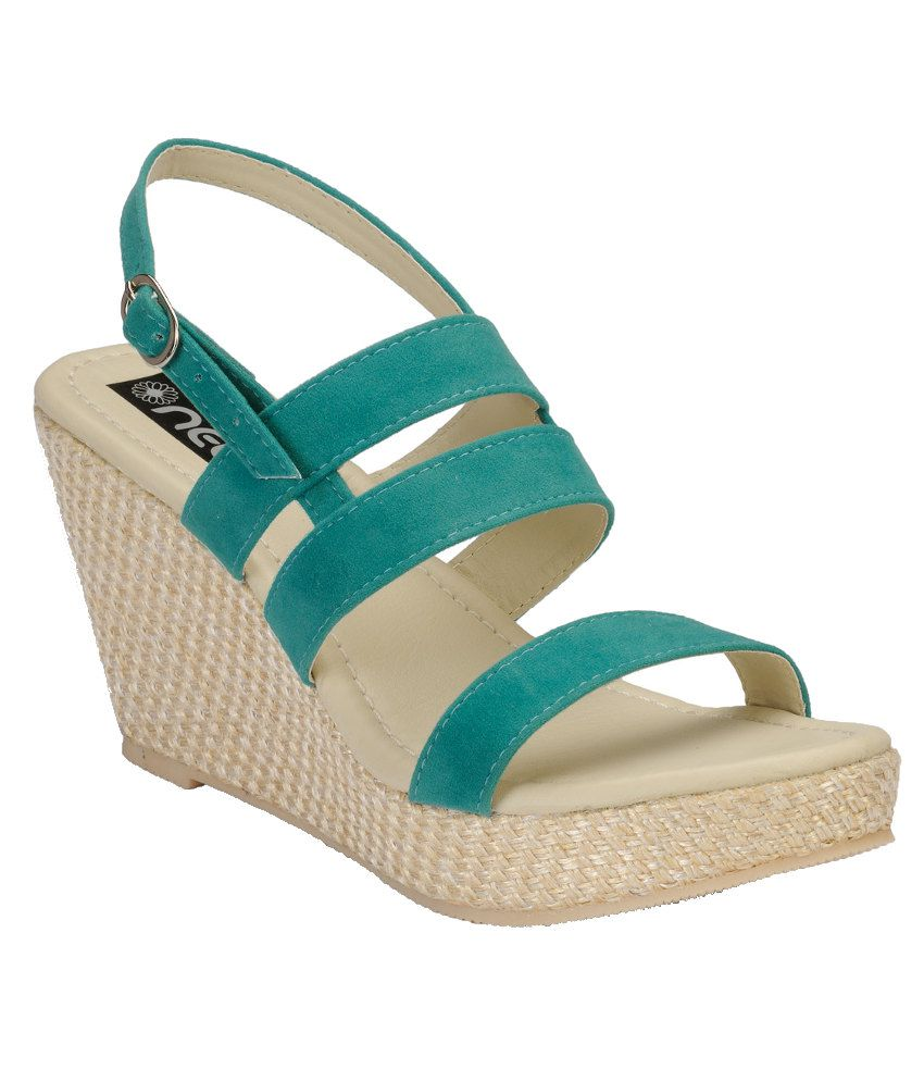 Nell Green Wedges Sandals