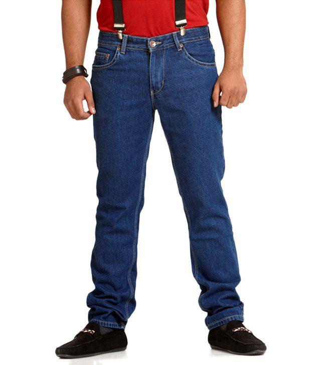 Prostatic Blue Cotton Blend Regular Fit Jeans