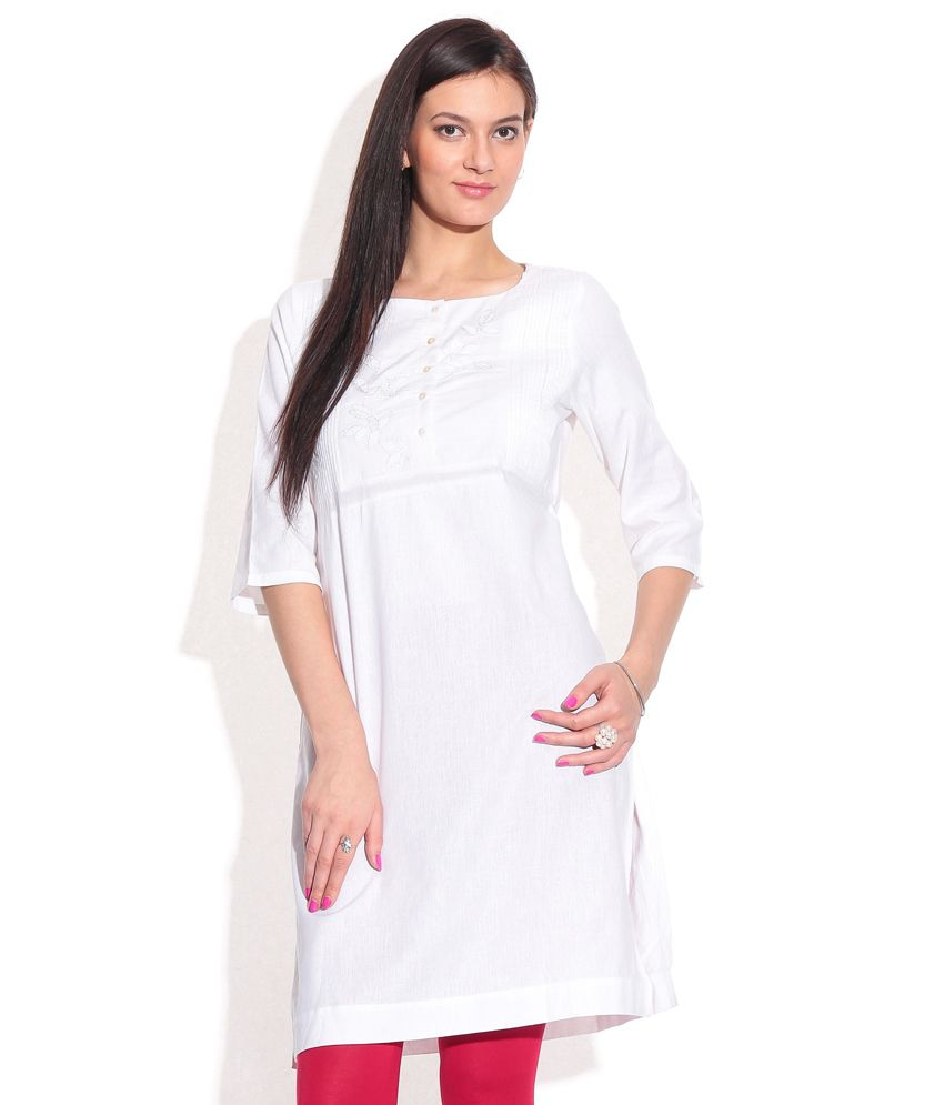 c345a397f21 W White Plain Cotton Kurti - Buy W White Plain Cotton Kurti Online at Best  Prices in India on Snapdeal
