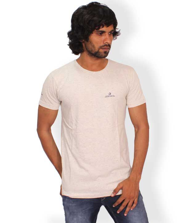 Necked Jeans White Cotton T-shirt