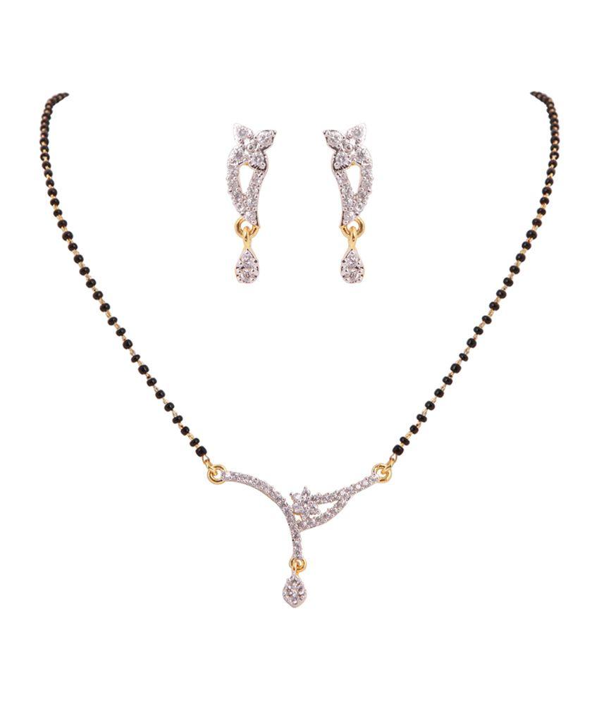 Vaishali Bindi And Bangles Contemporary American Diamond Black Mangalsutra Set