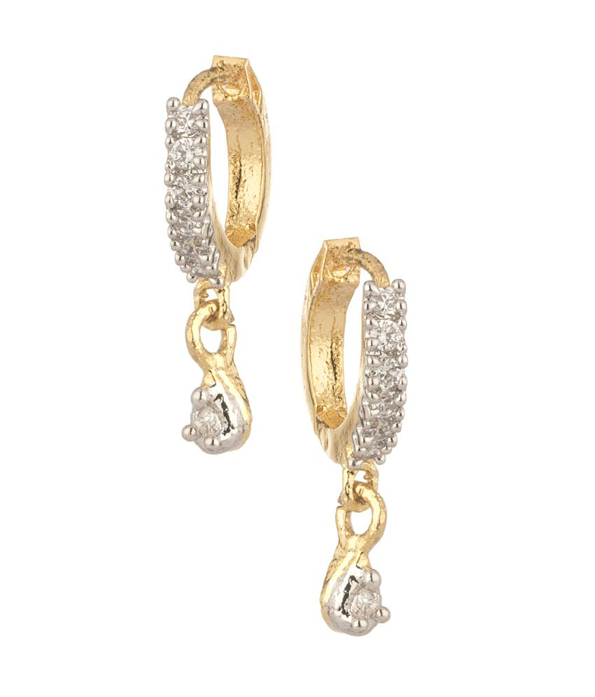 Voylla Gold Plated Hoop Earrings Crafted With Cz Stones